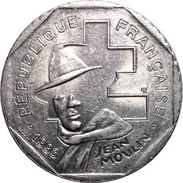 France 2 Francs 1993 Jean Moulin - 50th Anniversary of the National Resistance Movement KM#1062 XF