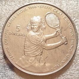 Niue 5 Dollars 1987 - Olympic Games Seoul 1988, Tennis Steffi Graf KM#5 XF