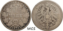 German Empire 1 Mark 1875 D KM#7 F