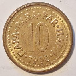 Yugoslavia 10 Para 1990-1991 KM#139 Variante: 1990 - XF-