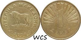 Macedonia 1 Denar 1993-2014 KM#2