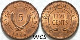 Uganda 5 Cents 1966 KM#1