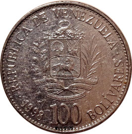 Venezuela 100 Bolivares 1998 Y#78.1 XF