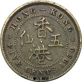 Hong Kong 5 Cents 1949-1950 KM#26