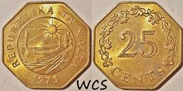 Malta 25 Cents 1975 - 1st Anniversary of Republic of Malta KM#29 XF