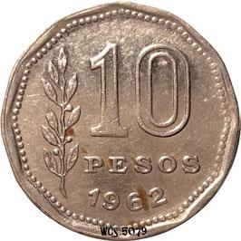 Argentina 10 Pesos 1962-1968 KM#60