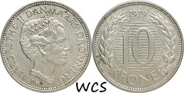 Denmark 10 Kroner 1979 B B KM#864.1 VF (3)