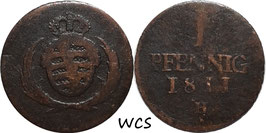 Saxony 1 Pfennig 1811 H KM#1070 VG