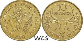 Madagascar 10 Francs 1970 F.A.O. KM#11 UNC