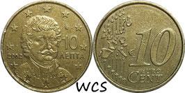 Greece 10 Cents 2002 F KM#184 VF