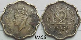 Ceylon 2 Cents 1951 KM#119 F