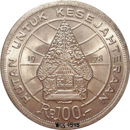 Indonesia 100 Rupiah 1978 - Forestry for prosperity KM#42