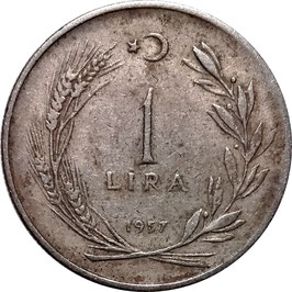 Turkey 1 Lira 1957 KM#889 VF-