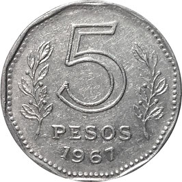 Argentina 5 Pesos 1967 KM#59 VF