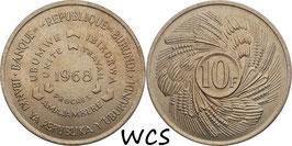 Burundi 10 Francs 1968 F.O.A. - First Anniversary of Republic KM#17 UNC