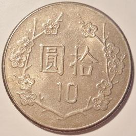 Taiwan 10 Yuan 1981-2010 (70-99) Y#553