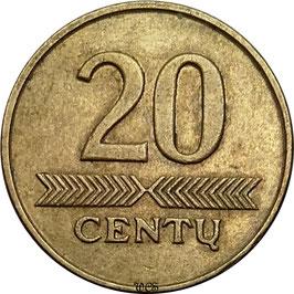 Lithuania 20 Centas 1997-2014 KM#107