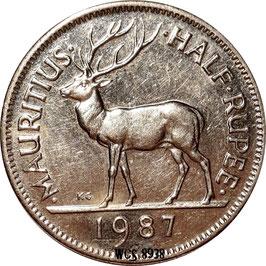 Mauritius ½ Rupee 1987-2016 KM#54