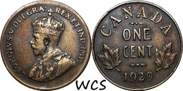Canada 1 Cent 1929 hight 9 KM#28 VF-