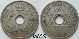 British West Africa 1 Penny 1920 KN KM#9 F+
