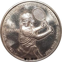 Niue 5 Dollars 1987 - Olympic Games Seoul 1988, Tennis Steffi Graf KM#5 UNC