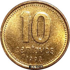 Argentina 10 Centavos 1992-2006 KM#107 (reeded edge, non magnetic)