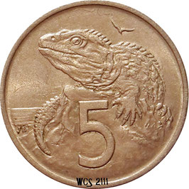New Zealand 5 Cents 1967-1985 KM#34