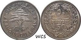 Lebanon 50 Piastres 1971 KM#28.1 VF+ (1)