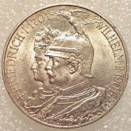 Prussia 2 Mark 1901 A - 200th Anniversary of the Kingdom of Prussia KM#525 XF+