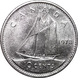 Canada 10 Cents 1969-1978 KM#77.1 (larger bust)