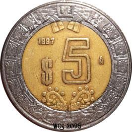 Mexico 5 Pesos 1997-Date KM#605