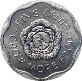 Seychelles 5 Cents 1972-1975 F.A.O. KM#18
