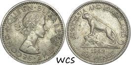 Rhodesia and Nyasaland 6 Pence 1962 KM#4 XF-