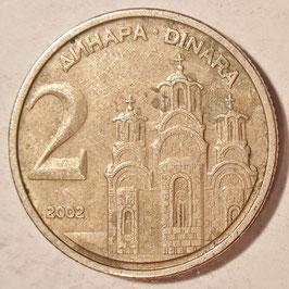 Yugoslavia 2 Dinara 2000-2002 KM#181 Variante: 2002 - VF