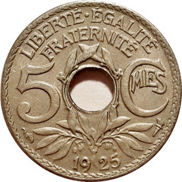 France 5 Centimes 1920-1938 KM#875 Paris