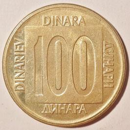Yugoslavia 100 Dinara 1988-1989 KM#134