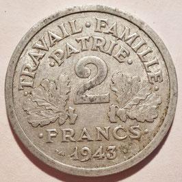 France 2 Francs 1943-1944 KM#904.1