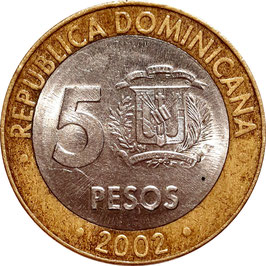 Dominican Republic 5 Pesos 2002-2010 KM#89