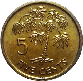 Seychelles 5 Cents 1982-2012 KM#47