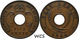 East Africa 5 Cents 1936 KN (Edward VIII) KM#23 VF