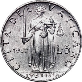 Vatican City 5 Lire 1951-1958 Pius XII KM#51.1
