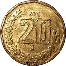 Mexico 20 Centavos 1992-2009 KM#548