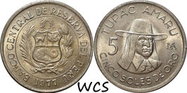 Peru 5 Soles 1977 KM#267 XF