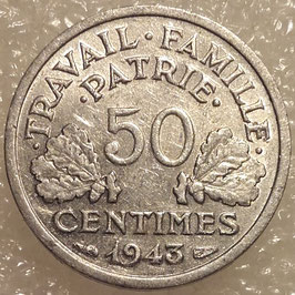 France 50 Centimes 1942-1943 KM#914.4 (thin flan 0,7 g)