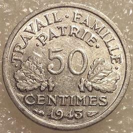 France 50 Centimes 1942-1943 KM#914.4 (thin flan 0,7 g)