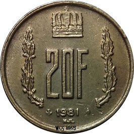 Luxembourg 20 Francs 1980-1983 KM#58