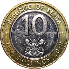 Kenya 10 Shillings 2005-2010 KM#35