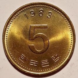 South Korea 5 Won 1983-2012 KM#32