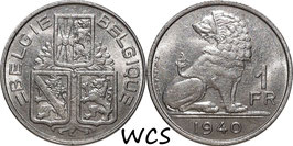 Belgium 1 Franc 1939-1940 BELGIE - BELGIQUE KM#120