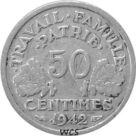 France 50 Centimes 1942-1944 KM#914.1 (thick flan 0,8 g)